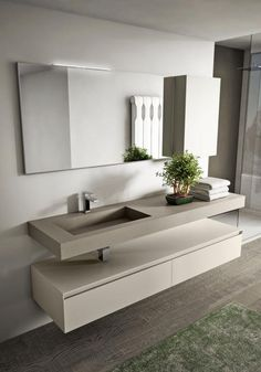 Modern design bathroom furniture: multi-level, seamless.