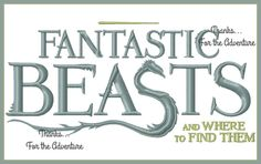 Fantastic Beasts and Where to Find Them Harry Potter Digital Embroidery Machine  Design File  5x7 6x10 by Thanks4TheAdventure on Etsy