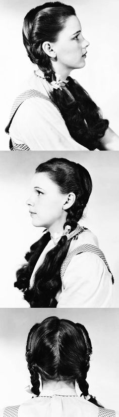 Hairdressing reference stills of Judy Garland for The Wizard of Oz .How awesome is this? Classic Hollywood, Old Hollywood, Halloween Makeup, Halloween Costumes, Wizard Of Oz 1939, Judy Garland, Celebs, Celebrities, Actors