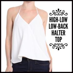 Surplice High-Low Halter Blouse Surplice High-Low Halter Blouse- a great basic and perfect for warmer temperatures. The  material is 100% polyester chiffon ands is not see through. The top that is being sold is the cream color, as the pink is only used in the pictures for modeling purposes. The crossover front is seen closed. Boutique Tops