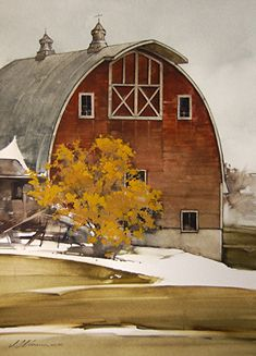 "Change of Season by Joseph Alleman Watercolor ~ 18.5"" x 13.5"""