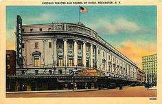 Rochester New York 1930 Eastman Theater School of Music Vintage Linen Postcard