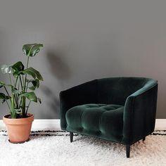 Carla Large emerald velvet armchair