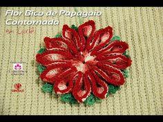 Flor Bico de Papagaio Contornada em crochê - Professora Simone