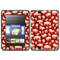 """Some Pig Design Protective Decal Skin Sticker for Amazon Kindle Fire HD 7 inch eBook Reader by MyGift. $19.99. """"Add both style and protection to your Amazon Kindle Fire HD 7 inch eBook Reader by keeping it covered in this stylish and practical skin decal sticker. The digitally printed exterior takes care of the style part of the equation with a vivid, art-quality design that shows off your own unique sense of style. Meanwhile, the durable combination of cast vinyl and cle..."""