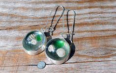 Resin, seashell, seaglass and silver earrings