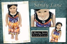 Doll Clothes pattern Maxi Dress for American Girl Dolls. Liberty Jane Patterns