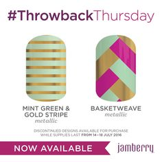 RETIRED!! #ThrowbackThursday - July 14th-18th. Mint Green & Gold Stripe and Basketweave. How truly beautiful do these look together? Basketweave is one of the most sought after vintage Jamberry wraps. Don't miss out!! On sale today at 2PM (sale ends Tuesday 6:59AM - but last week's Feminine Flair sold out before the end of Thursday!) #tbt #jamberry #jamberrynails #nailwraps #nails #chic #mint #green #gold #stripe #basketweave #pink #exclusive #limited #dontmissout #vintage #unicorn #junicorn