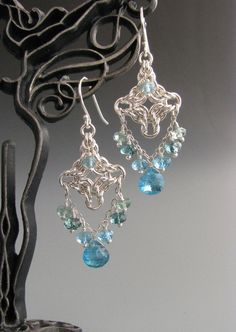 Byzantine Diamond Chain Mail Earrings with par WolfstoneJewelry, $65,00