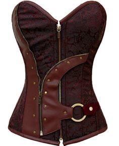 Damen Dessous Steampunk Gothic Punk Vollbrust Bustier Korsett Corsage Top (Euro Size(32-34)S)