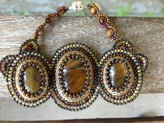 HOLIDAY SALE Tiger Eye Peyote Beadweave Bezel Bracelet Gold, Black and Bronze