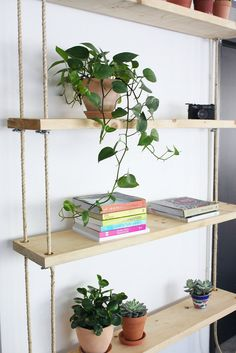 Make your own hanging rope  shelves