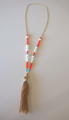 This Long Chain Necklace is made of 3 different colors crystal beads in an elegant combination of a light brown color tassel.   Necklace is completely handmade and unique! You are more than welcome to visit my shop at: https://www.etsy.com/il-en/shop/TairJewelry