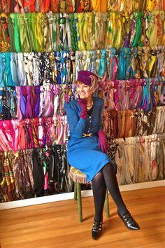 Shop Inspiration •~• Judith the Style Crone... amazing scarf display & beautiful lady!