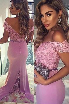 Elegant Long Prom Dress - Lilac Mermaid Off-the-Shoulder with Lace