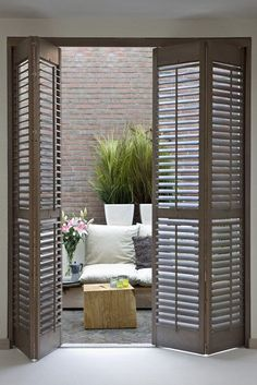Luxurious Nook only for you - picket shutters - shutters - Taras - okiennice drewniane -. nook only for you - picket shutters - . Interior Shutters, House Design, Sliding Glass Doors Patio, Patio Design, Door Design, French Doors Patio, Wood Shutters, Sliding Glass Door, Home Decor
