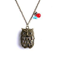 Amazon.com: Jolie Popular Retro Bronze Hollow Owl Pendant Copper-plated Metal Necklace 1pcs: Arts, Crafts & Sewing