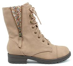 Girls Kids Childrens Mid-Calf Military Combat Boots - (Taupe) - Toddler 9