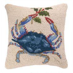 100% Wool Holiday Crab Pillow