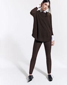 J.Crew Collection cashmere swing sweater, Maddie pant in bi-stretch wool and patent wing tip Oxford. To preorder call 800 261 7422 or email erica@jcrew.com.