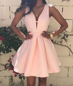 Sale Feminine Prom Dresses Pink, V Neck Prom Dresses, Short Homecoming Dress, Cute Homecoming Dress Simple Homecoming Dresses, Pink Prom Dresses, Dresses For Teens, Simple Dresses, Sexy Dresses, Dress Outfits, Casual Dresses, Dress Prom, Mini Dresses