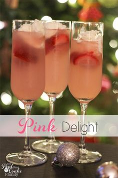 Pink Delight ~ Drink Recipes Perfectly delicious non-alcoholic drink for a family celebration such as New Years eve click now for more. Kid Drinks, Party Drinks, Summer Drinks, Cocktail Drinks, Cocktail Recipes, Cocktails, Drink Recipes, Non Alcoholic Drinks New Years, Alcoholic Beverages