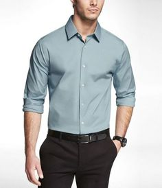 SALT WATER BLUE EXTRA SLIM FIT 1MX STRETCH COTTON SHIRT at Express
