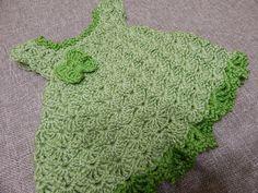 Crochet Back Scrubbie - Vestido Crochet para Bebe 0 meses Pistache Lidia Crochet Tricot, Beau Crochet, Crochet Doily Rug, Crochet Diy, Baby Girl Crochet, Crochet Baby Clothes, Crochet For Kids, Crochet Hood, Crochet Winter
