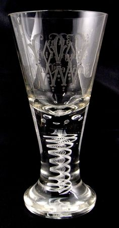 Fadenglaspokal mit Gravur, Siegfried Haertel, Josephinenhütte,