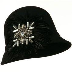 Feather and Stone Ribbon Cloche Wool Felt Hat - Black OSFM W24S41F SS/Sophia. $47.99