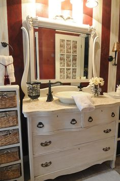 Beautiful antique dresser turned into a bathroom vanity with a marble top and copper sink. Description from pinterest.com. I searched for this on bing.com/images
