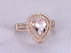 MYRAY 6x8mm Pear Cut Natural Pink Morganite Gemstone Diamond Halo Band Engagement Ring Vintage 14k Rose Gold Women Rings Antique
