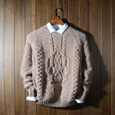 Argyle suéter suéter grueso manga larga del o cuello caliente patrones que  hacen punto hombres jerseys b364b8313be5