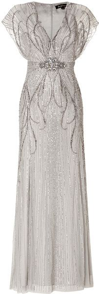 I WISH!!!  Jenny Packham Silver Sequin Embellished Gown in Platinum