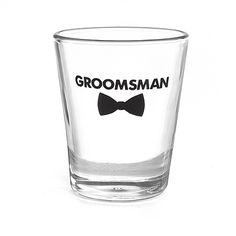 Don't forget about the groomsmen! This shot glass with bow tie design and 'Groomsman' printed in black on the front is the perfect gift.