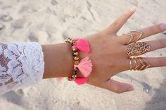 Multi pink tassel bracelet *****The listing price is for ONE bracelet -Visit my shop for more tribal handbags, tassel necklaces, tassel bracelets