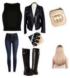 """""""Black outfit"""" by cisnerosal on Polyvore featuring River Island, Alexander McQueen, Aerosoles, Gucci, Extension Professional, women's clothing, women's fashion, women, female and woman"""