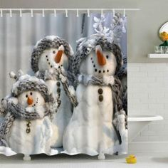 3D Snowman Printed Fabric Waterproof Shower Curtain