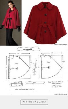 Poncho - created on Coat Patterns, Dress Sewing Patterns, Sewing Patterns Free, Clothing Patterns, Cape Pattern, Jacket Pattern, Sewing Clothes, Diy Clothes, Fashion Sewing