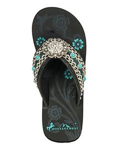 Montana West Women's Turquoise with Cream Embroidered Strap with Round Concho Wedge Flip Flops