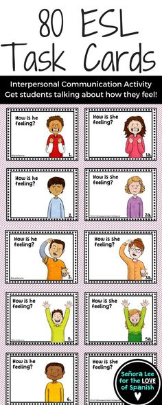 20 greeting games for efl esl english as a second language class help esl efl ell learners express 14 emotions and feelings with these task cards m4hsunfo