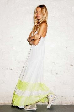 love a long dress with high top sneakers