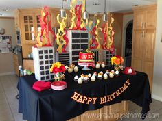 My little guy LOVES fire trucks and firefighters so a fire truck themed 3rd birthday was a must! We started the day visiting our local fire house then it was back to our house for lunch, cake, and presents!