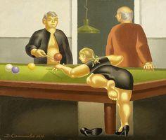 <B>OVCHINNIKOV, VLADIMIR AFANASSIEVITCH</b></i><br>(Russia 1941 - lives and works in Moscow)<br>Billiards player. 2000.<br>Oil on canvas. Signed, entitled and inscribed verso: Ovchinnikov 2000 Billardspieler.<br>75 x 85 cm.<br><br><B>OVCHINNIKOV, VLADIMIR AFANASSIEVITCH</b></i><br>(Russland 1941 - lebt und arbeitet in Moskau)<br>Billardspieler. 2000.<br>Öl auf Leinwand. Verso signiert, betitelt und bezeichnet: Ovchinnikov 2000 Billardspieler.<br>75 x 85 cm.