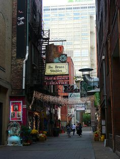 "Printer's Alley - Nashville Tennessee.  Still haunted by the ghost of ""Skull"" Schulman: see Chapter 17 of: http://www.booksamillion.com/p/Ghosts-Haunts-Tennessee/Christopher-K-Coleman/9780895873897?id=5826563501315"