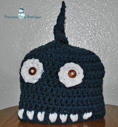 Shark beanie with button eyes and teeth Button Eyes, Diaper Covers, Shark, Crocheting, Crochet Hats, Beanie, Sewing, Teeth, Crochet