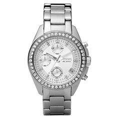 @Overstock - Sparkling clear cubic zirconia stones surround the bezel and dial of this beautiful glitz watch from Fossil. A silver dial and stainless steel case and bracelet finish the casually elegant look of this fine timepiece. http://www.overstock.com/Jewelry-Watches/Fossil-Womens-Decker-Glitz-Chronograph-Stainless-Steel-Watch/6113397/product.html?CID=214117 $98.99