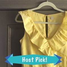 Spring Buttercup 🌻 Yellow Dress NWOT. Get ready for Spring & Summer with this beautiful yellow dress. Ruffled V-neck. Dress also has side pockets. Falls just below knee. Shell - 56% Nylon 44% polyester. Lining 100% polyester. Purchased at boutique, never worn but took tags off. Labeled Anthropologie for exposure. Anthropologie Dresses Midi