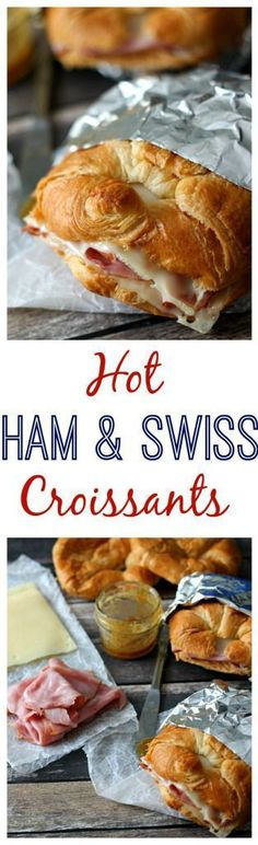 Hot Ham & Swiss Croissants! So easy to make ahead and pop in the oven any time someone is hungry. They have a special honey mustard sauce that is soo delicious!