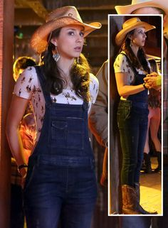 Spencer's denim overalls with cowboy printed crop top and western boots on Pretty Little Liars.